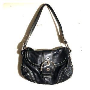COACH Leather Black Shoulder Bag silver buckle